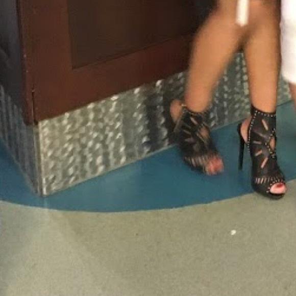 Aldo Black Gold Studded Heels with Strap